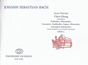 Bach, J. S. Clavier Ubung I